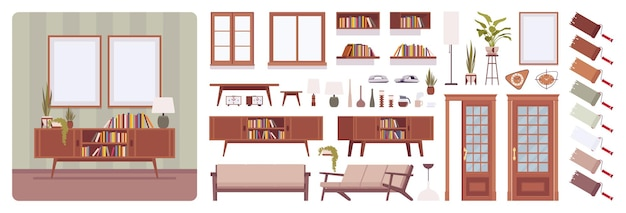 Intérieur de salon, maison, ensemble de création de bureau