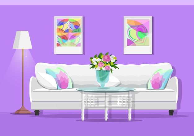 Intérieur de salon mignon avec canapé, table, lampe et photos.