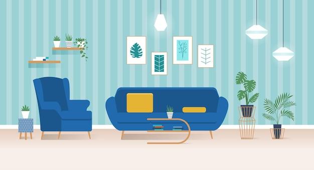 Intérieur de salon moderne avec canapé bleu