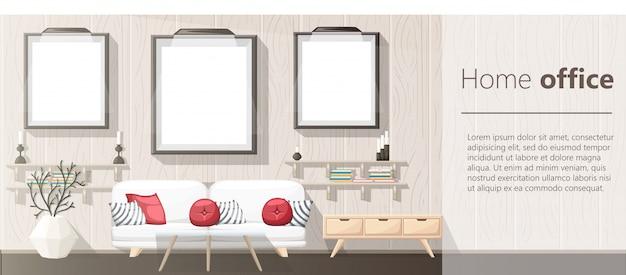 Intérieur. salon moderne avec canapé gris, vase, étagère avec livres et table de chevet. intérieur de l'appartement dans le style. illustration intérieur confortable sur fond blanc