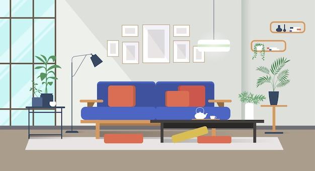Intérieur de salon moderne et confortable avec canapé et table basse au design plat