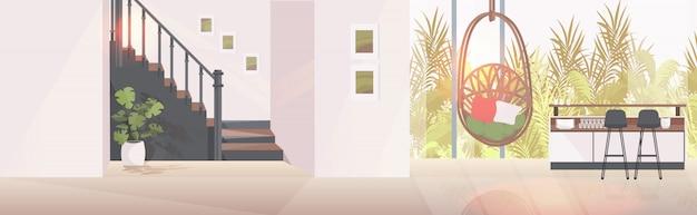 Intérieur de salon moderne vide aucun appartement avec des meubles horizontal