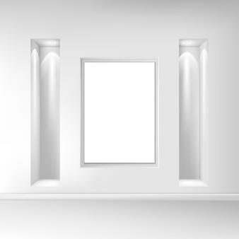 Intérieur de salon réaliste exposition de peintures au mur