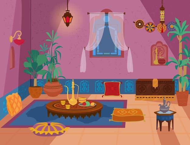 Intérieur de salon traditionnel du moyen-orient avec meubles en bois et éléments de décoration