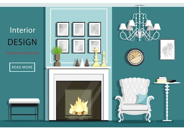 Intérieur de salon vintage mignon avec fauteuil confortable, cheminée, lustre, table.