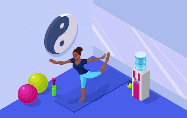 Intérieur de studio de yoga avec femme africaine