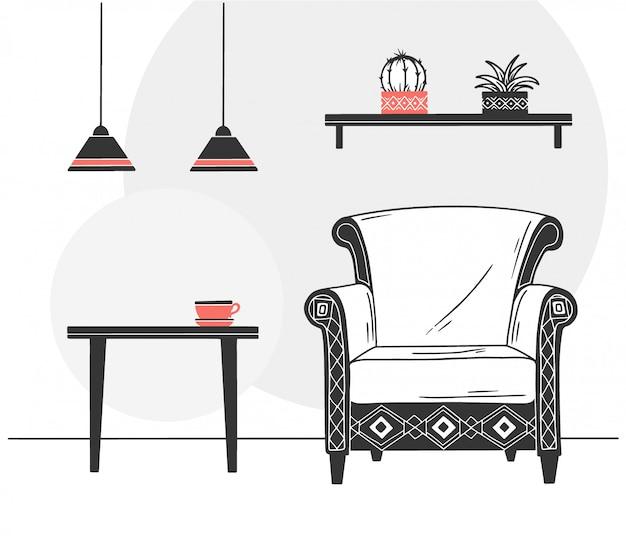 Intérieur de style scandinave. une partie de la chambre illustration vectorielle dessinés à la main