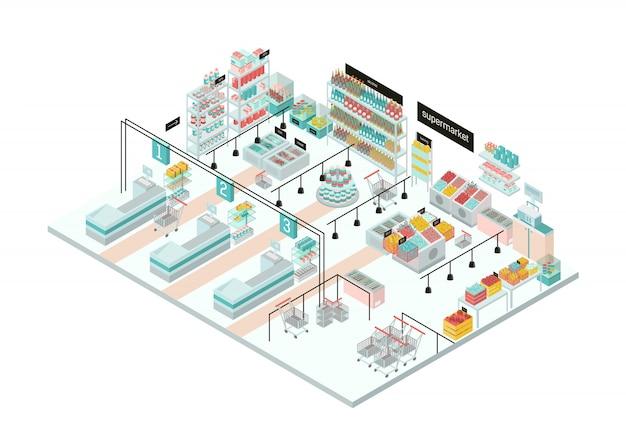 Intérieur de supermarché. épicerie. illustration isométrique colorée.