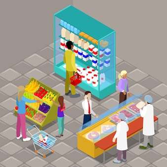 Intérieur de supermarché isométrique avec les acheteurs et les produits.