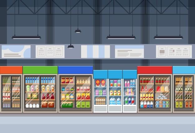 Intérieur de supermarché de style catroon plat avec des étagères et des réfrigérateurs chargés de marchandises