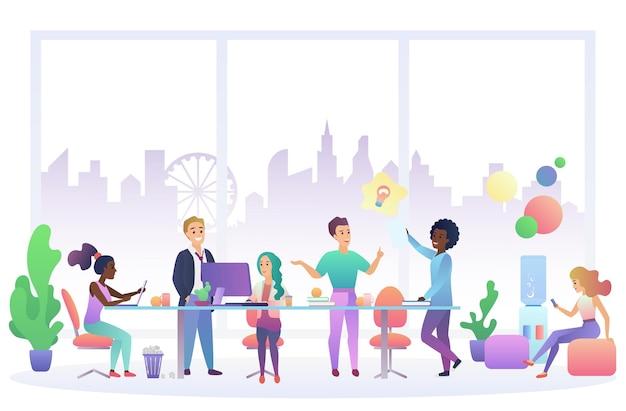 Intérieur de travail de bureau, processus de travail d'équipe, travail d'équipe commerciale