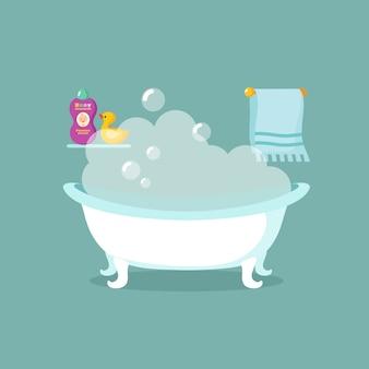 Intérieur de vecteur de dessin animé de salle de bain avec baignoire pleine de mousse et douche