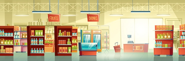 Intérieur de vecteur de supermarché salle des marchés carton