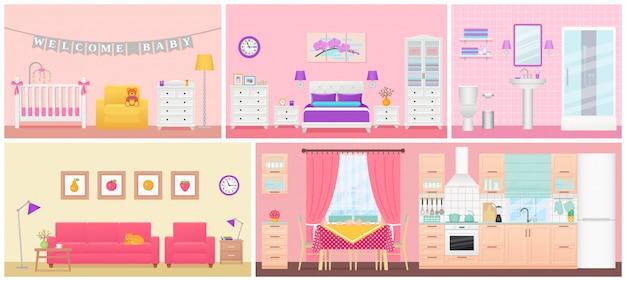 Intérieurs des chambres. illustration au design plat. maison de dessin animé.