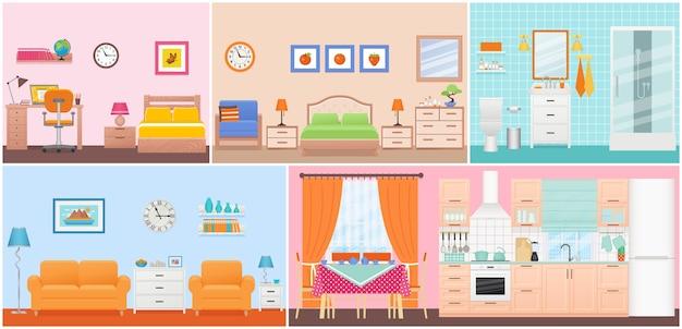 Intérieurs des chambres. salon, chambre, salle de bains, crèche, salle à manger, cuisine au design plat. accueil à l'intérieur. appartement domestique de dessin animé. illustration de jeu