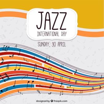 International background journée de jazz avec des vagues colorées et des notes de musique