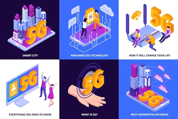 Internet 5g isométrique avec des compositions carrées d'icônes de gadget, des mains humaines et des légendes de texte