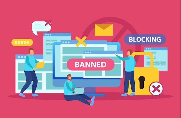 Internet bloquant la composition symbolique avec l'utilisateur arrêtant le harcèlement par courrier électronique avec un grand verrou interdisant l'abuseur plat