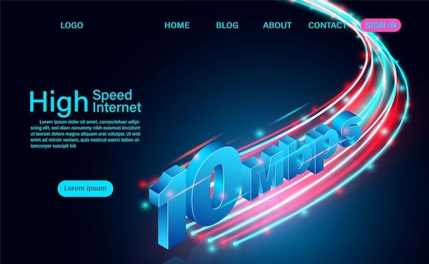 Internet haute vitesse dans les réseaux à large bande mondiaux vitesse page de destination isométrique