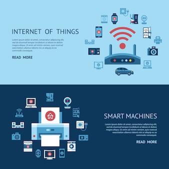 Internet intelligent des objets infographie concept objets collection d'icônes