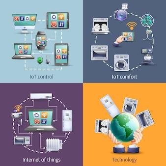 Internet des objets 4 icônes plats