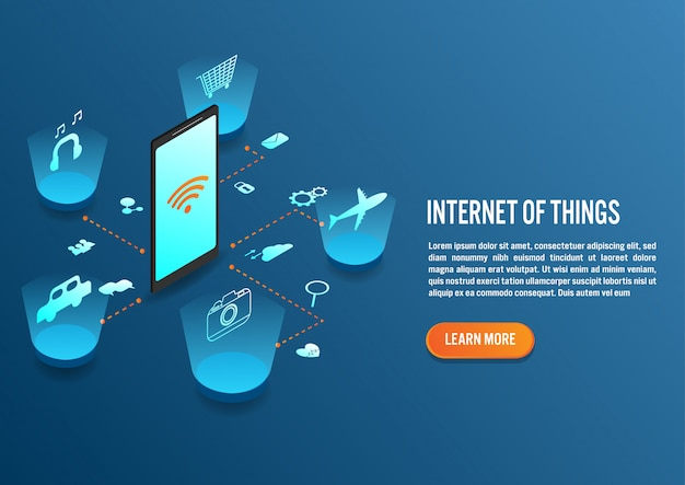 Internet des objets au design isométrique