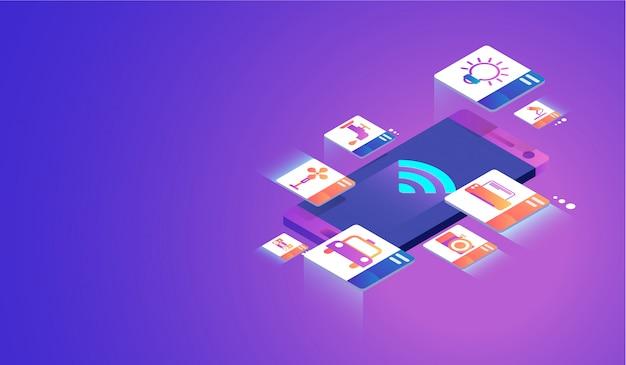 Internet des objets sur le concept de smartphone.