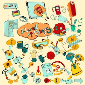 Internet des objets doodles en couleur