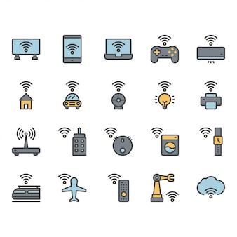Internet des objets liés icône et jeu de symboles