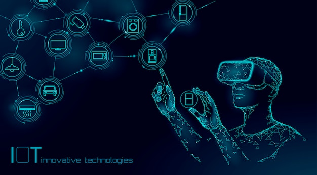 Internet des objets opération moderne par le concept de technologie d'innovation de lunettes vr. réseau de réalité augmentée de communication sans fil iot ict.