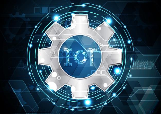 Internet des objets technologie abstrait cercle gear fond hexagonal