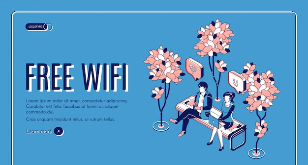 Internet sans fil gratuit de la page de destination isométrique