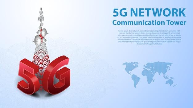 Internet sans fil hispeed avec centre de données et tour de communication de 5 g