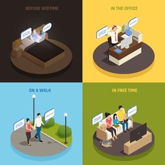 Internet smartphone gadget addiction isométrique design concept avec des personnages et des appareils dans diverses situations vector illustration
