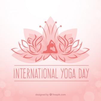 Interntonal fond jour de yoga avec le symbole