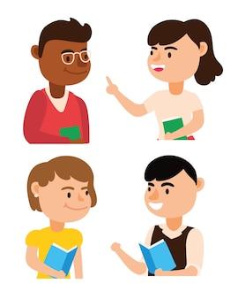 Interracial enseignants équipe travailleurs caractères vector illustration design