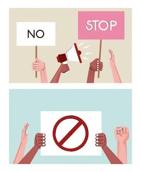 Interracial mains personnes protestant contre des scènes de pancartes et de mégaphone