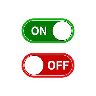 Interrupteur à bascule, position marche et arrêt isolé sur blanc
