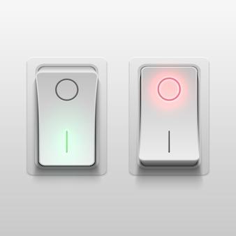 Interrupteurs à bascule électriques 3d réalistes vector illustration. commande de commutateur réaliste de lumière électrique