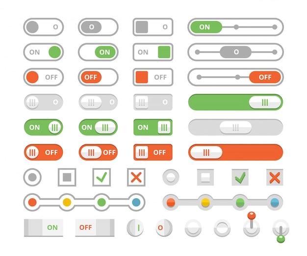 Interrupteurs à bascule marche / arrêt, éléments du jeu d'interface utilisateur