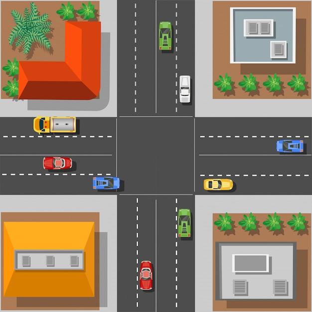 Intersection de la ville avec les toits