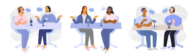 Interview de podcast, hôte et invité, personnages de dessins animés