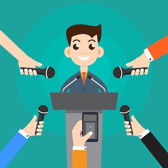 Interviewer un homme d'affaires ou un politicien répondant aux questions