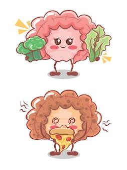 Intestin mignon mangeant des aliments sains et malsains. dessin animé