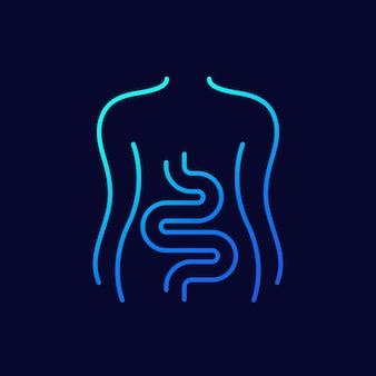 Intestins, icône de ligne du côlon sur dark
