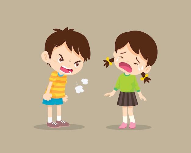L'intimidation des enfants garçon en colère