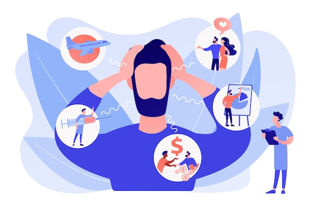 Introversion, agoraphobie, phobie des espaces publics. maladie mentale, stress. trouble d'anxiété sociale, test de dépistage d'anxiété, concept d'attaque d'anxiété. illustration isolée de bleu corail rose