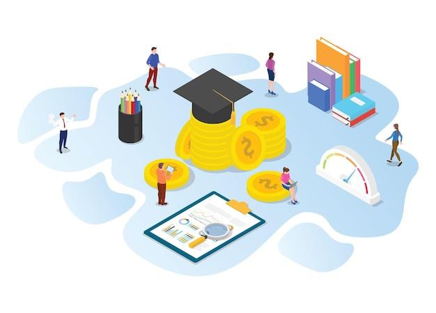 Investir dans le concept de l'éducation avec illustration vectorielle de style isométrique ou 3d moderne