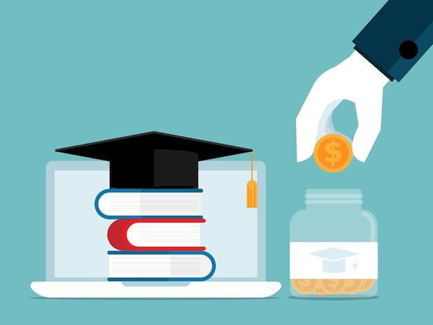 Investir dans l'éducation main de l'homme mettre la pièce dans un bocal en verre
