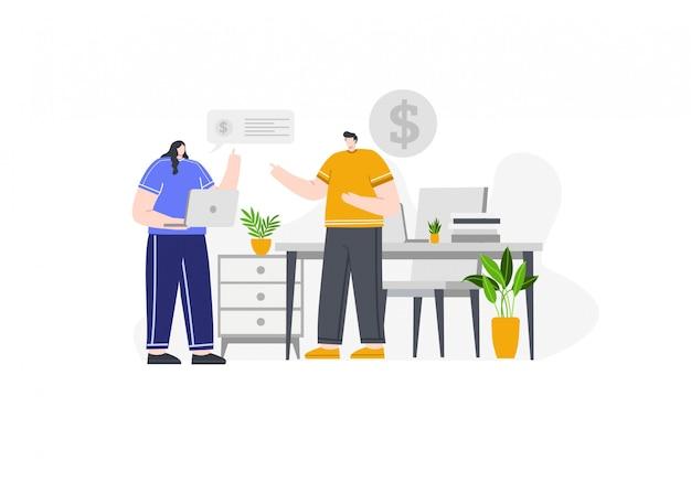 Investissement et affaires en illustration de concept
